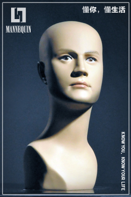 L7男款PVC化妆模特头PM02T