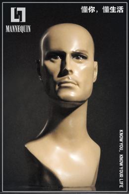 L7男款玻璃钢化妆模特头SM02T