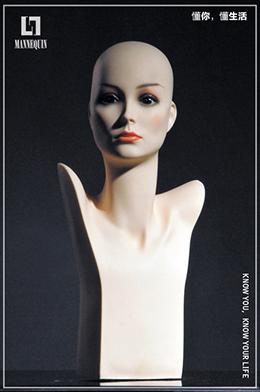 L7女款PVC化妆模特头PM1E