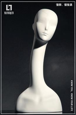 L7女款哑光白色长款玻璃钢天鹅模特头SBL